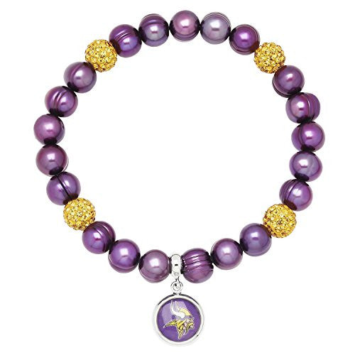 Honora Licensed NFL Minnesota Vikings freshwater cultured pearl & crystal bracelet NFB7938MV75