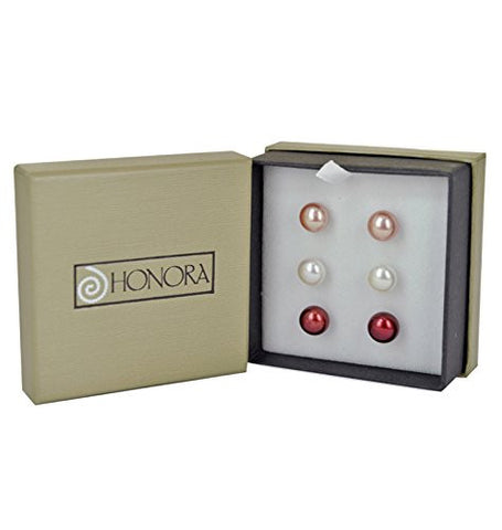 "Honora ""Gift Set"" - Cherry, White, and Rose Freshwater Cultured Pearl Stud Earring Box Set LES5453CWR"