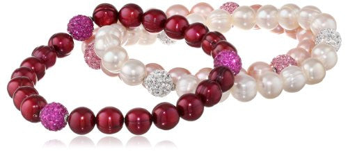 "Honora ""Pop Star"" Cherry, White and Rose Freshwater Cultured Pearl and Crystal 7.5"" Stretch Bracelet LBS5673CWR"