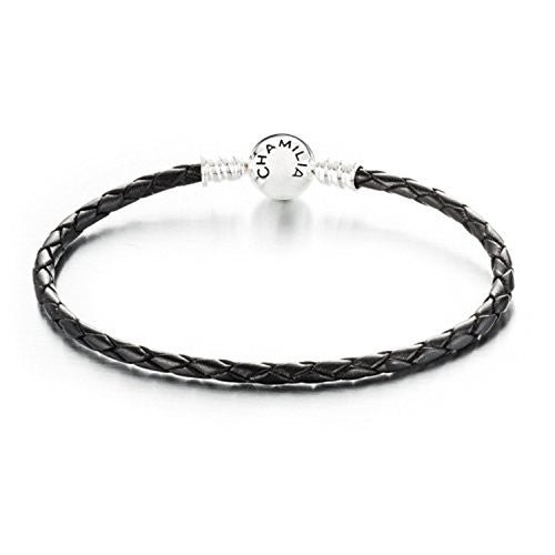 Braided Snap Closure Leather Bracelet - Black - Large - 1030-0126