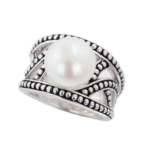 "Honora ""Pallini"" Sterling Silver and White Button Freshwater Cultured Pearl Ring LR5518WH7"