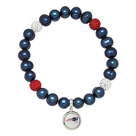 Honora Licensed NFL New England Patriots freshwater cultured pearl & crystal bracelet NFB7938NEP75