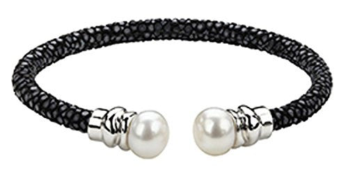 Honora White Button Freshwater Pearl w/Sterling Silver & Black Leather Bracelet LB5826BL