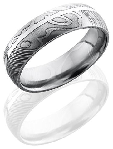 Lashbrook D7D11OC/SS Sterling Silver Inlay Wedding Band - Damascus Steel