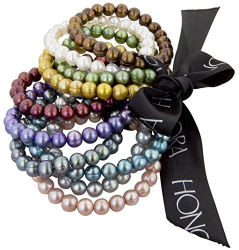 Honora Set of 10 Multi-color Freshwater Cultured Pearl Stretch Bracelets, 7.5