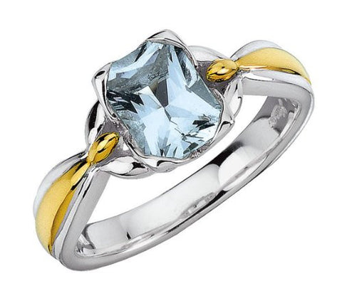 Colore Sterling Silver and 18K Gold Aquamarine Ring LZR151-AQ