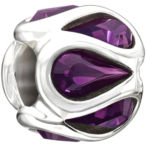 Authentic Chamilia Sterling Silver Charm Embrace - Purple With Swarovski 2025-0937