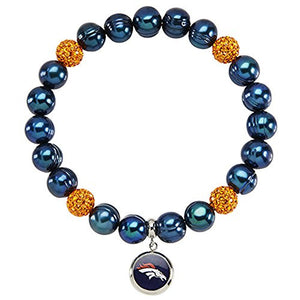 Honora Licensed NFL Denver Broncos freshwater cultured pearl & crystal bracelet NFB7938DB75