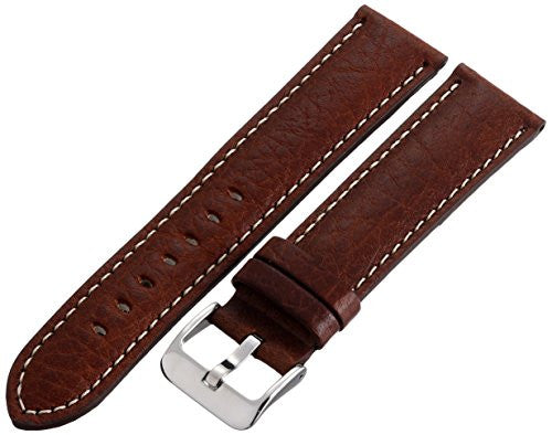 MS906 - 22 mm - Brown Shrunken Grain Genuine Italian Leather Strap by Hadley Roma