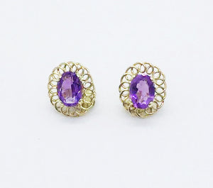 14K Filigree Oval Amethyst Earrings