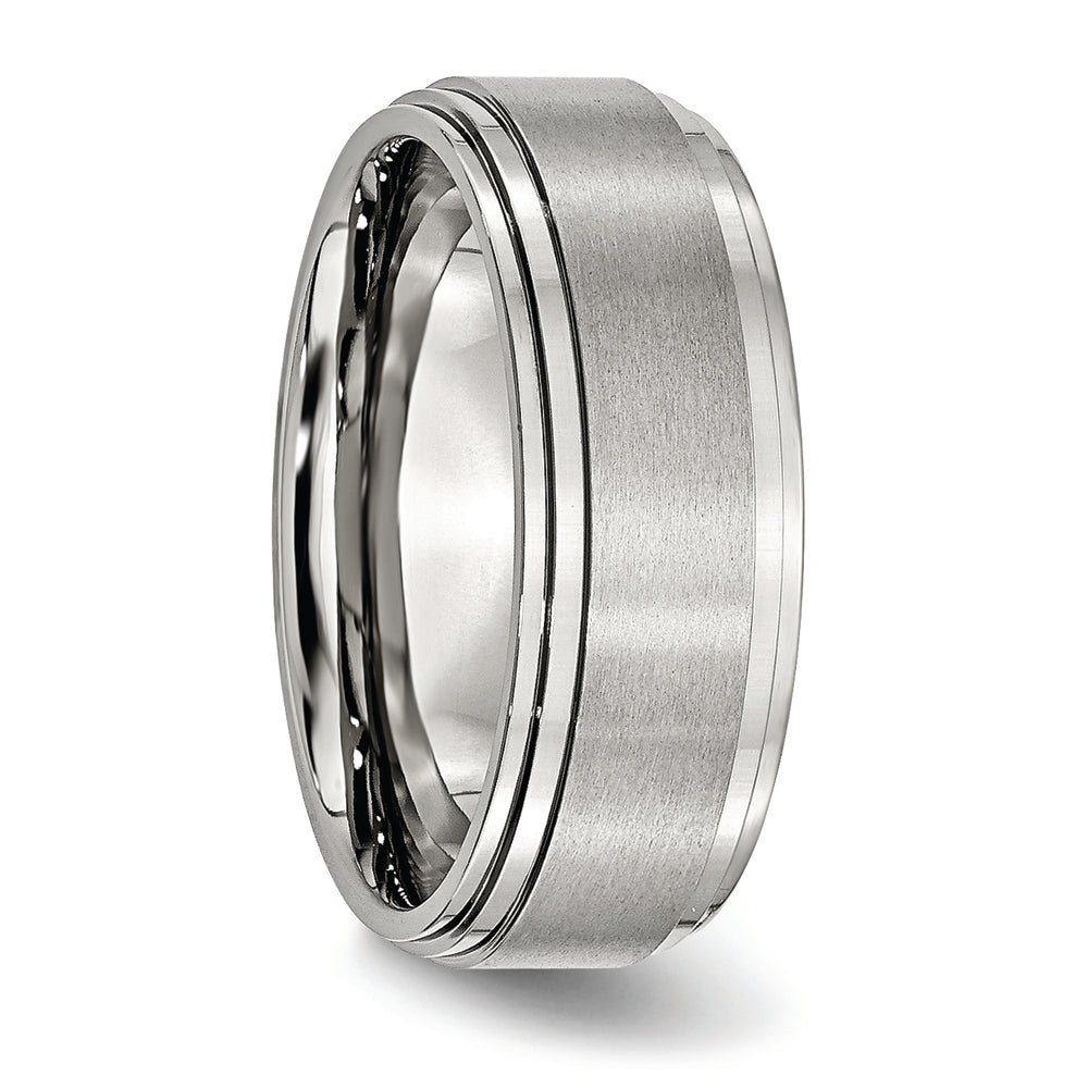 Stainless Steel 8 mm Double Step Down Brushed & Polished Ring