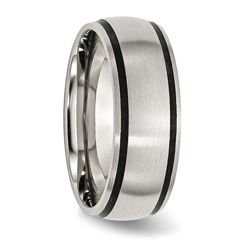 Stainless Steel & Black Accent 8 mm Ring