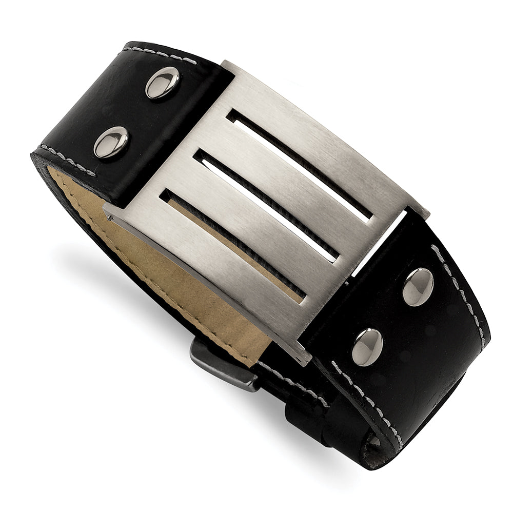 Stainless Steel & Leather Adjustable Buckle Bracelet