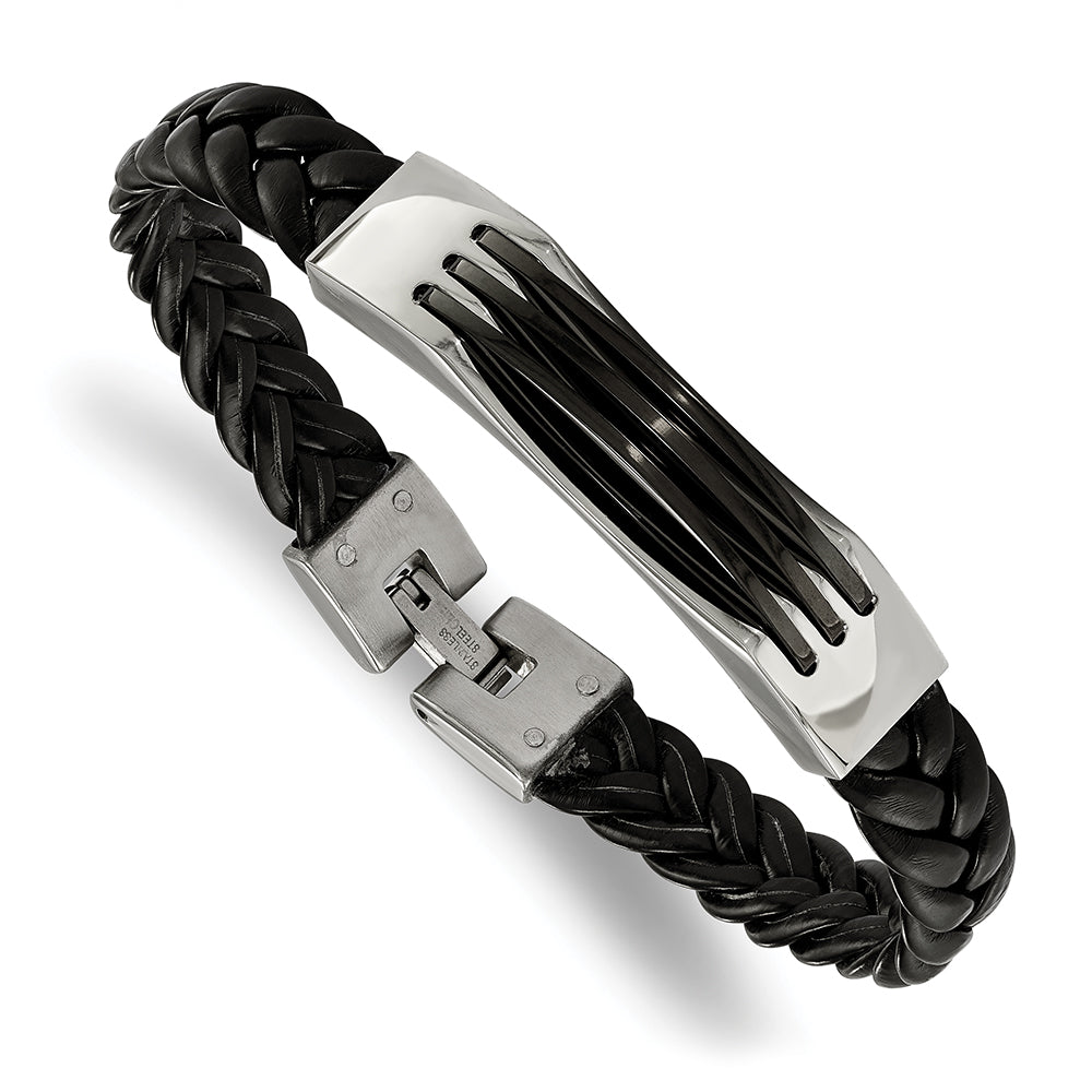 Stainless Steel & Black Leather Bracelet