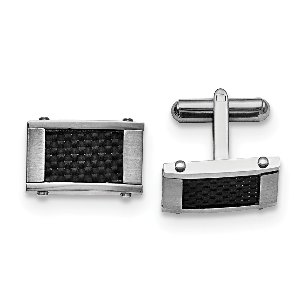 Stainless Steel & Black Carbon Fiber Cuff Links