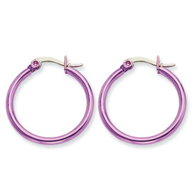 Stainless Steel Pink IP plated 26mm Hoop Earrings