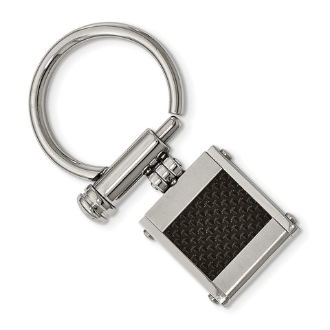 Stainless Steel & Black Carbon Fiber Key Ring