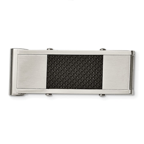 Stainless Steel & Black Carbon Fiber Money Clip