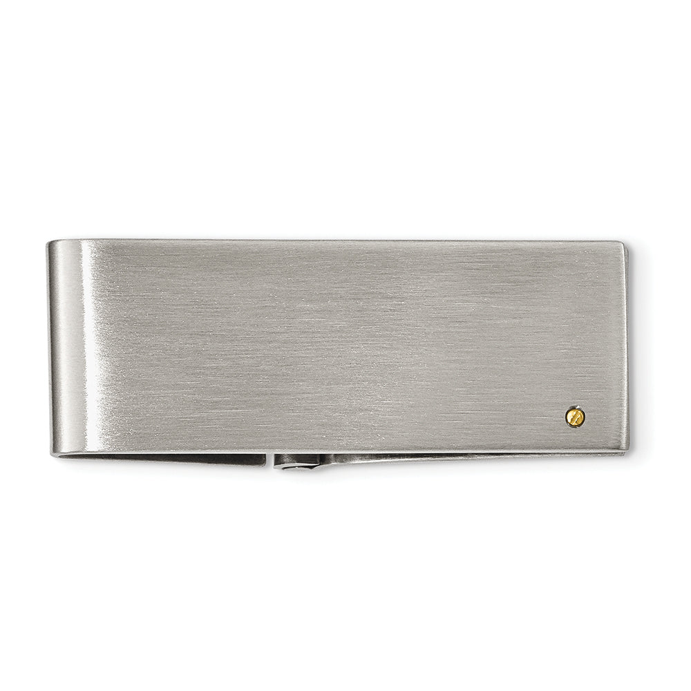 Stainless Steel & 14K Yellow Gold Accent Money Clip