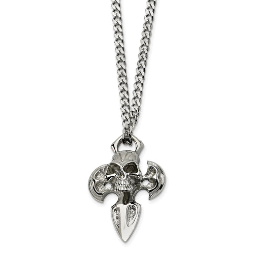 Stainless Steel Cross with Skull Necklace