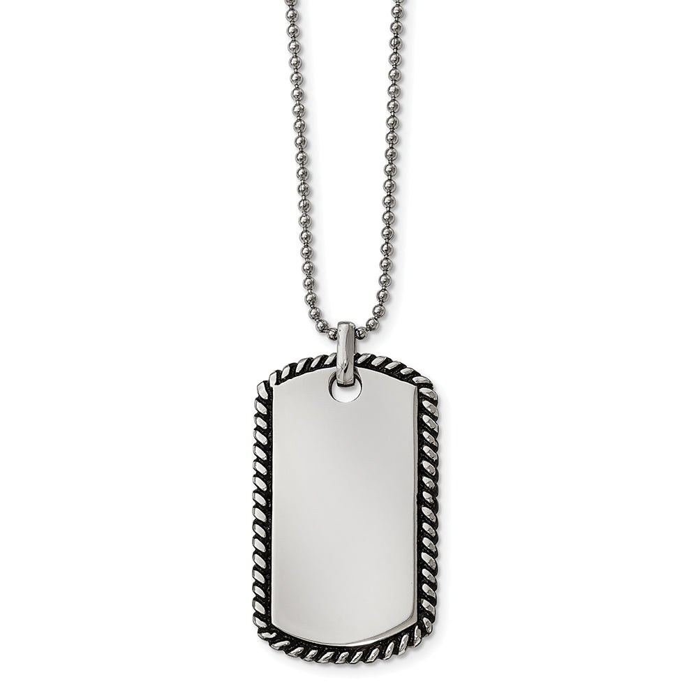 Stainless Steel Twisted Rope Edge Dog Tag Pendant 24 inch Necklace