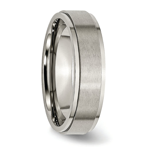 Titanium Ridge Edge 6 mm Brushed & Polished Ring
