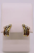 Load image into Gallery viewer, Tri Color 14K Gold & Diamond Earrings
