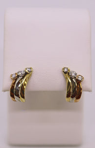 Tri Color 14K Gold & Diamond Earrings