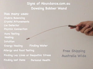 The Dowsing Bobber Wand is a spiritual tool held in the hand to test energy healing and aura testing