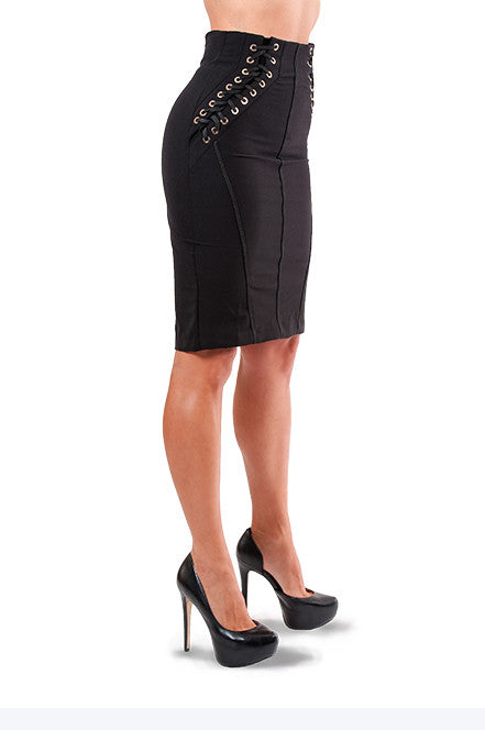 Lace Up Tube Noir Skirt - Jade and Camil