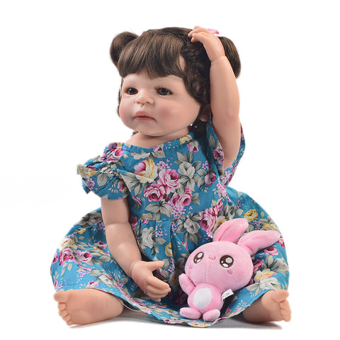22 Inch Fashion Reborn Alive Girl Doll Full Body Silicone Realistic Princess Baby Doll For Kids Xmas Gifts DIY Hair Style - tonybz