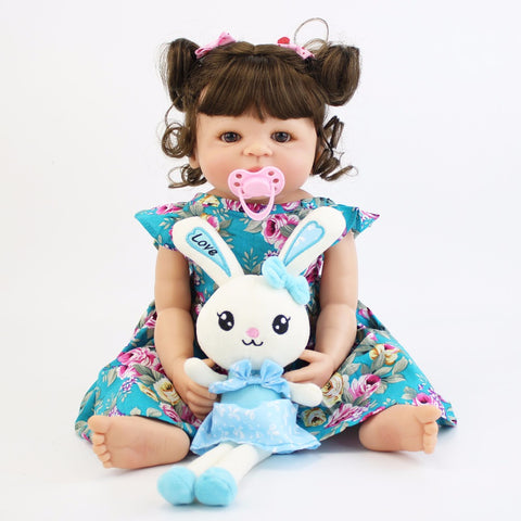 55cm Full Silicone Body Reborn Baby Doll Toy For Girl Vinyl Newborn Princess Babies Alive Bebe Boneca Bathe Toy Birthday Gift - tonybz