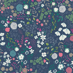 Art Gallery Fabrics Blooming Ground Luscious Navy Floral Fabric