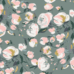 Art Galley Fabrics Everlasting Blooms Sparkler Spring Floral Grey Pink Fabric