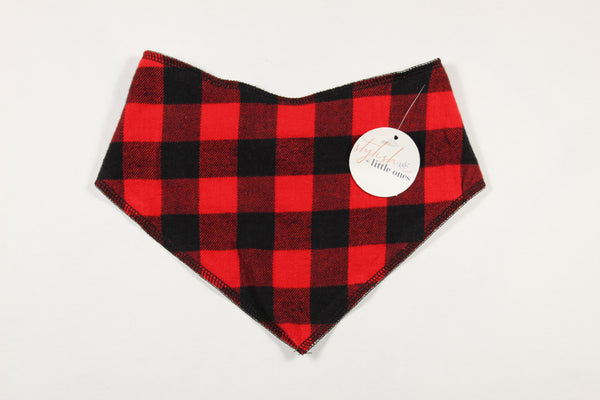 Christmas Red and Black Buffalo Plaid Baby Bandana Bib - Stylish Little Ones Boutique