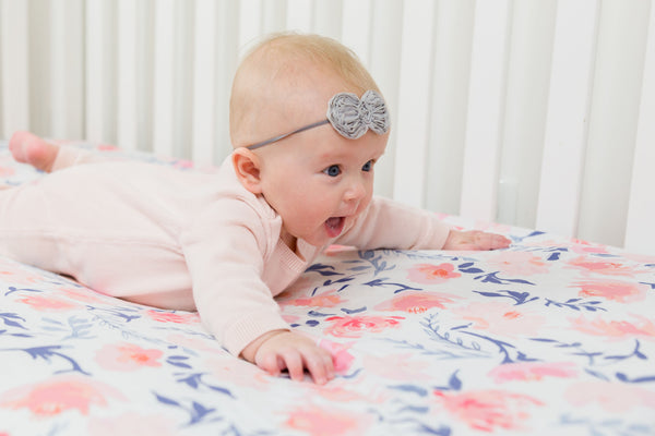 Baby Bedding⎜Pink and Blue Floral Crib Sheets⎜Handmade Fitted Crib Sheet - Stylish Little Ones Boutique