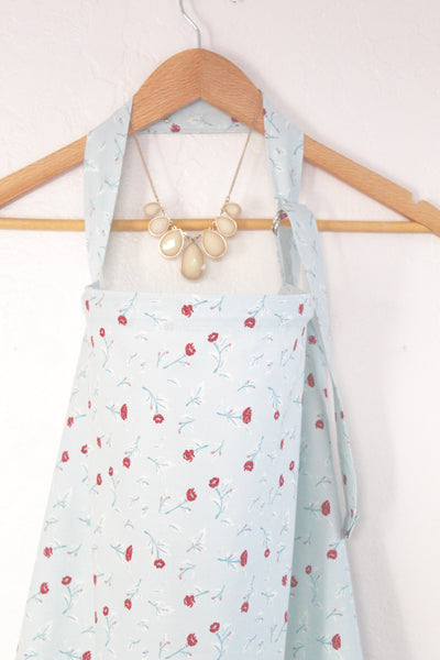 Wire Nursing cover Light Blue and Red Roses - Stylish Little Ones Boutique