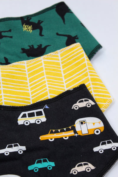 Cars and Dinosaurs Bandana Bibs Set of 3 - Stylish Little Ones Boutique