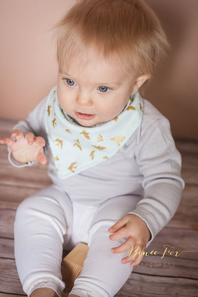 Blue with Gold Birds Bandana Bib - Stylish Little Ones Boutique