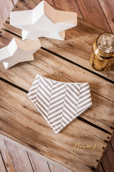 Grey Chevron Bandana Bib - Stylish Little Ones Boutique