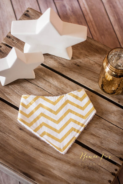Gold Chevron Bandana Bib - Stylish Little Ones Boutique