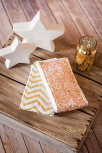 Pink and Gold Burp Cloths: Set of 3 - Stylish Little Ones Boutique