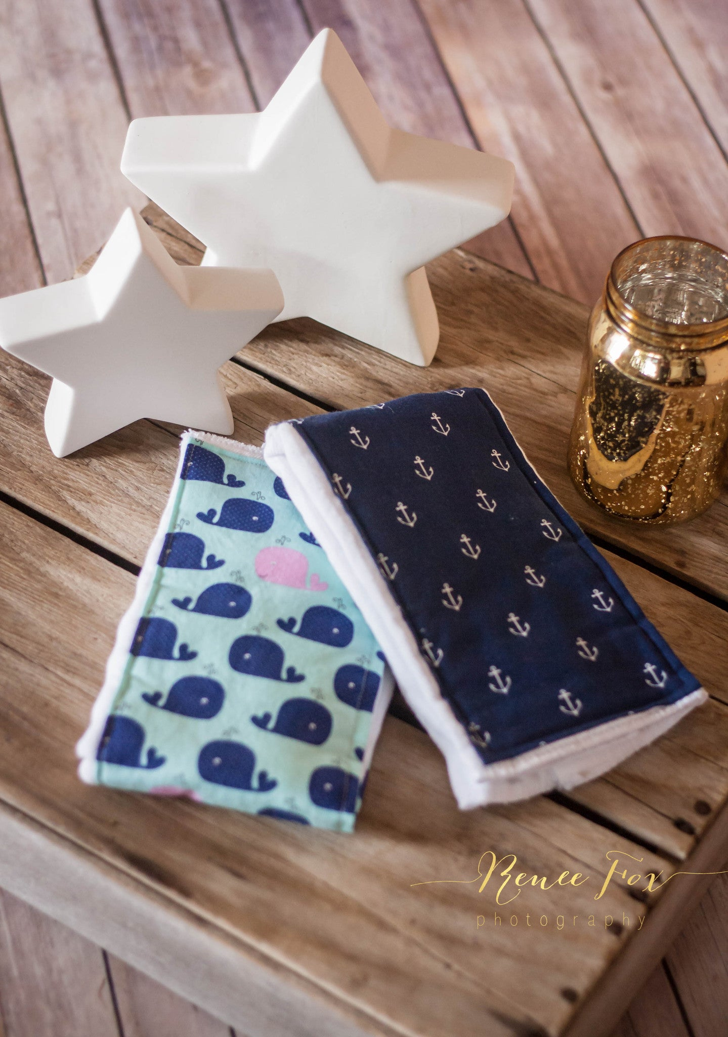 Anchors and Whales Burp Cloths - Stylish Little Ones Boutique