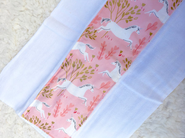 Handmade Pink and Gold Unicorn Baby Burp Cloths - Stylish Little Ones Boutique
