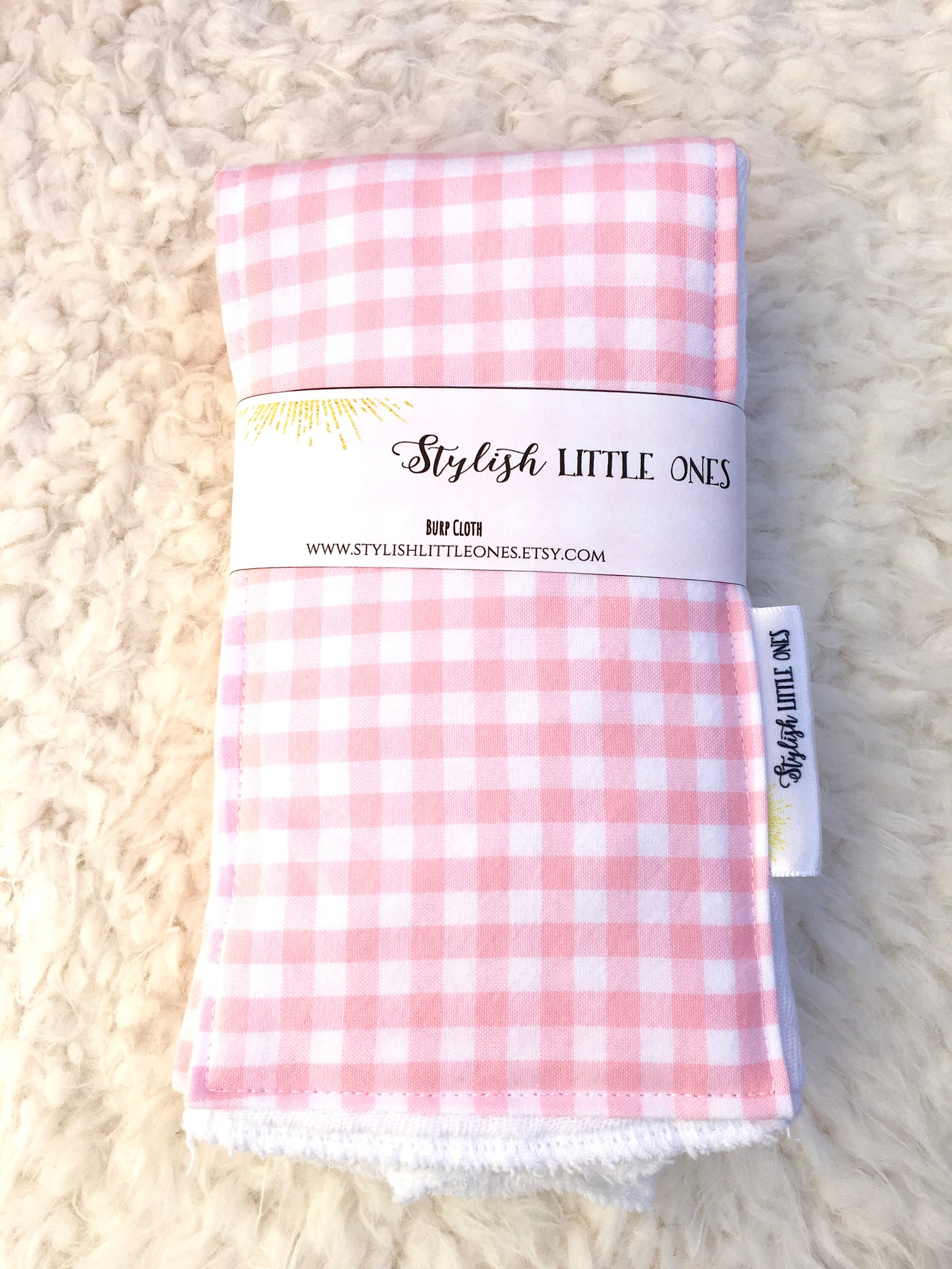 Light Pink Plaid Handmade Burp Cloth Set - Stylish Little Ones Boutique
