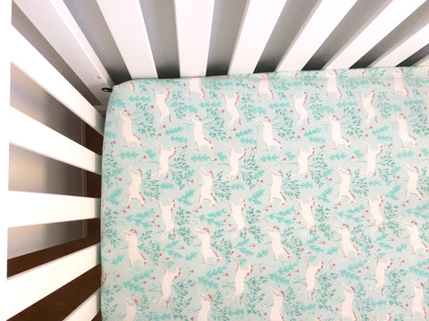 Baby Bedding⎜Handmade Flannel Unicorns Pink and Blue Girl Crib Sheets - Stylish Little Ones Boutique
