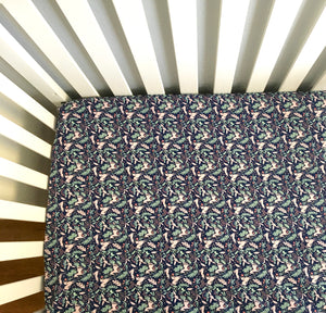 Navy and Pink Unicorns Baby Nursery Handmade Fitted Crib Sheets - Stylish Little Ones Boutique