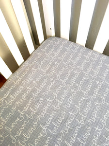 Gender Neutral Handmade Crib Sheets ⎜Blue Gray Crib Sheet ⎜Baby Bedding - Stylish Little Ones Boutique