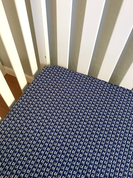 Navy Hearts Handmade Fitted Baby Crib Sheets - Stylish Little Ones Boutique