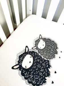 Sheep Baby Bedding⎜Handmade Black and White Sheep Crib Sheets ⎜Gender Neutral Crib Sheet - Stylish Little Ones Boutique